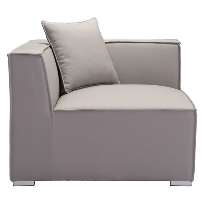 Modern Low Profile Outdoor Corner Chair Gray   ZM Home : Target