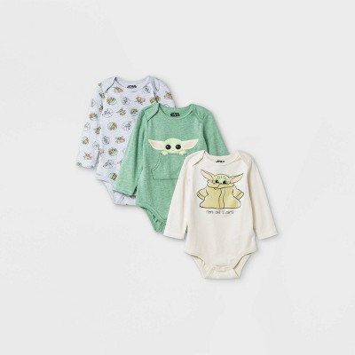 Baby Boys' 3pk Star Wars Baby Yoda Long Sleeve Bodysuit - Newborn