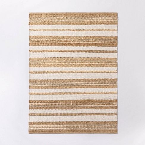 Riverton Hand Woven Striped Area Rug Tan - Threshold™ designed with Studio McGee - image 1 of 4