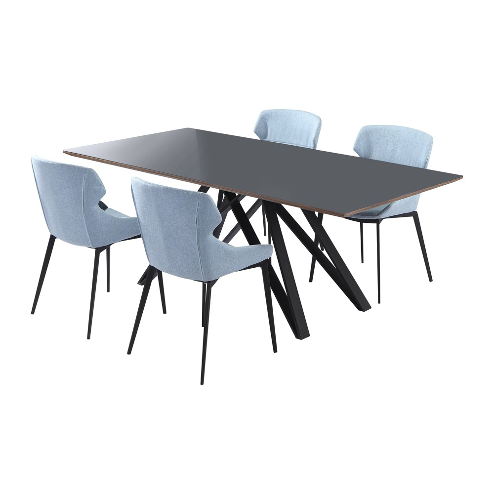Sitka Contemporary 5pc Metal Dining Set Matte Black/Blue - Modern Home