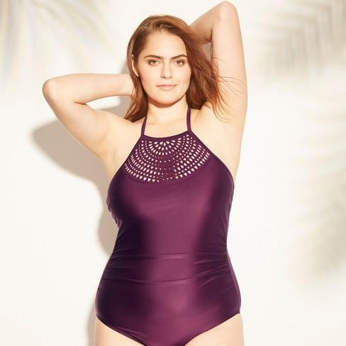 9584492ac8 Women's Tall/Long Torso Laser Cut High Neck Ladder One Piece Swimsuit -  Kona Sol™ Atlantic Burgundy