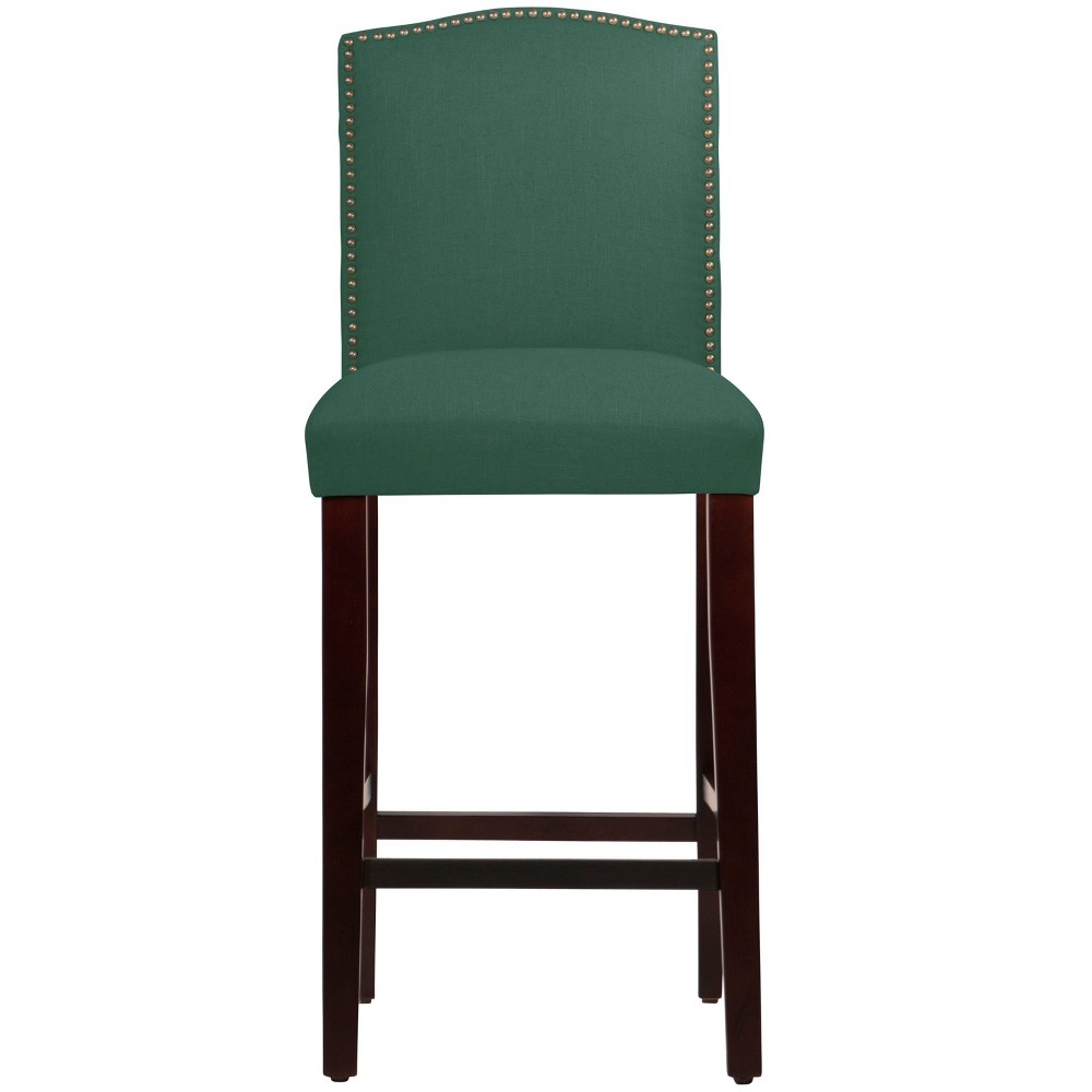 Nail Button Camel Back Bar stool in Linen Conifer Green - Skyline Furniture