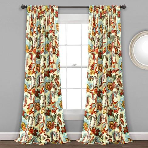 Set of 2 Zara Jacobean Back Tab Rod Pocket Room Darkening Window Curtain Panels - Lush Décor - image 1 of 4
