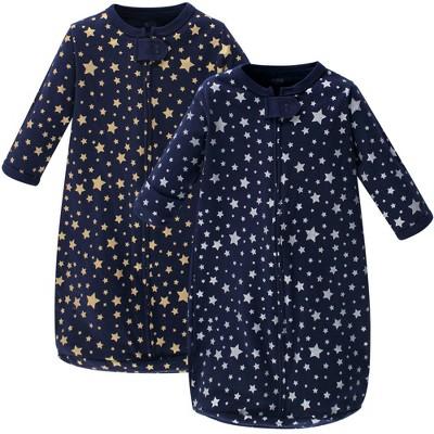 Hudson Baby Unisex Baby Cotton Long-Sleeve Wearable Sleeping Bag Sack Blanket - Metallic Stars 3-9M