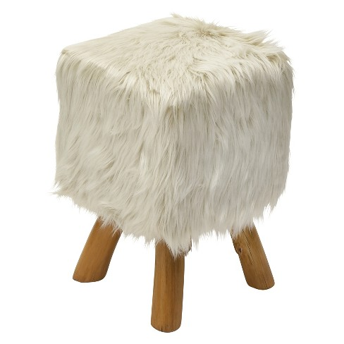 Teak and Faux Fur Square Block Accent Stool Beige - Olivia & May - image 1 of 2