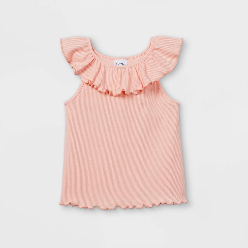 Toddler Girls 39 Rib Ruffle Tank Top Art Class 8482 Pink 5t