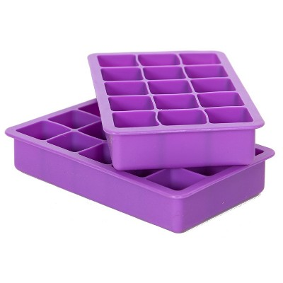 Elbee Home Silicone Ice Cube Tray, Set of 2 Makes 30 Cubes, Purple