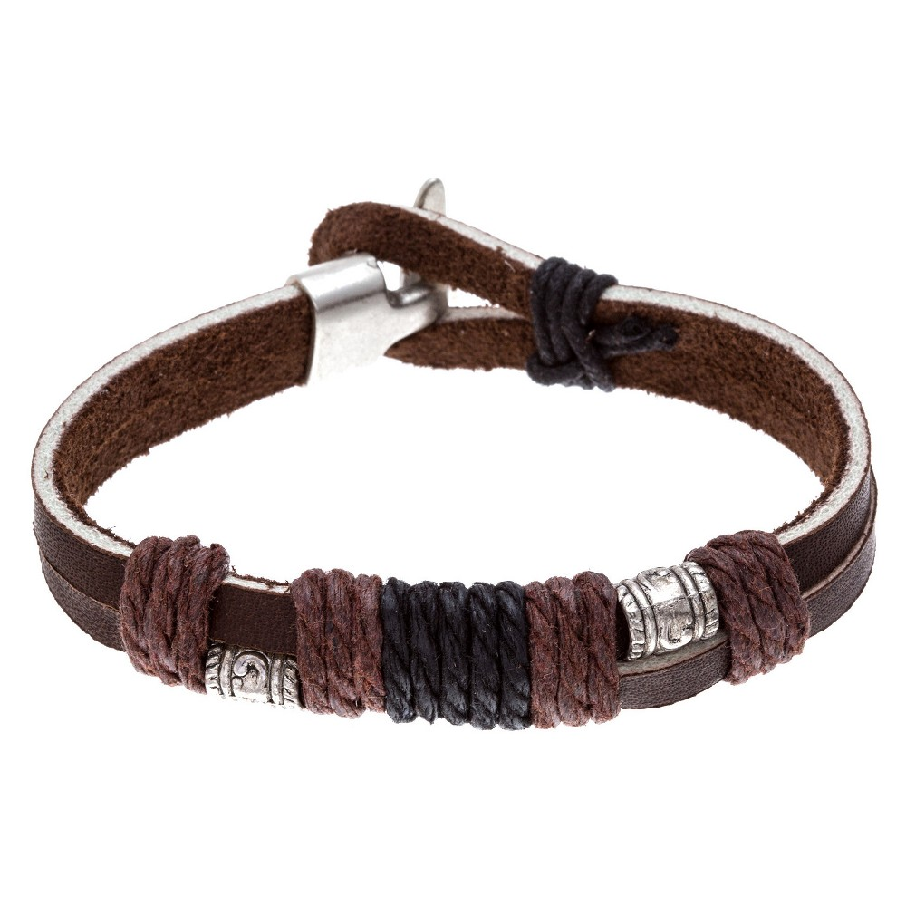 Men's Stainless Steel Oxidized Brown Leather and Textured Beads With Wrap Cord Bracelet
