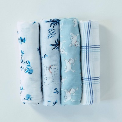 Patina Vie 100% Cotton Frolicking Puppy Swaddle Set - 4pc