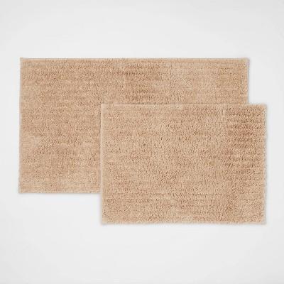 2pk Quick Dry Bath Rug Set Tan - Threshold™