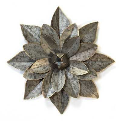 "19.88"" Layered Galvanized Metal Flower Silver - Stratton Home Décor"