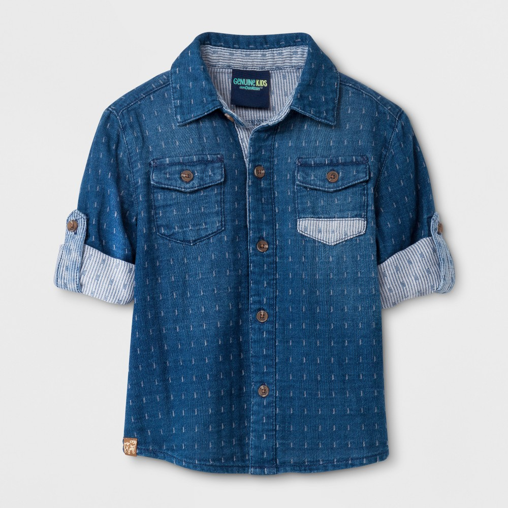 Toddler Boys' Genuine Kids from OshKosh Long Sleeve Denim Shirt - Medium Wash - 3T, Blue