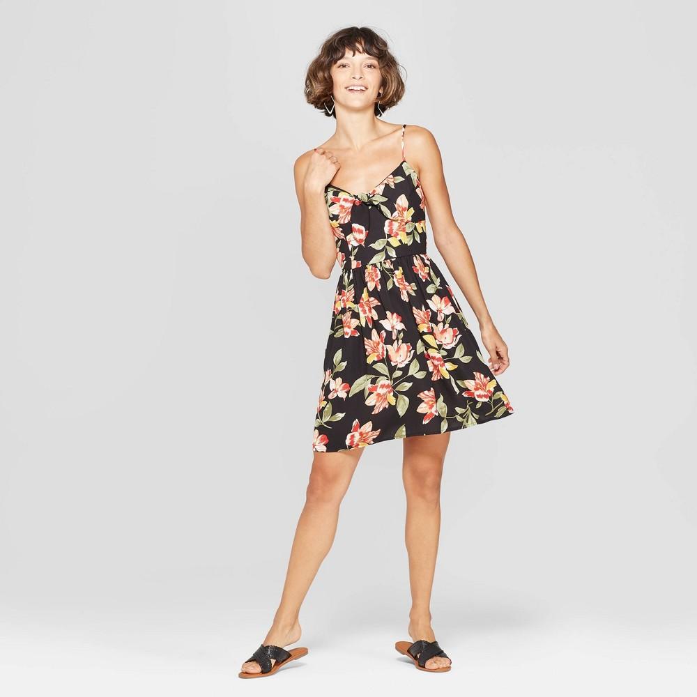 Women's Floral Print V-Neck Strappy Tie Front Dress - Xhilaration Black XL