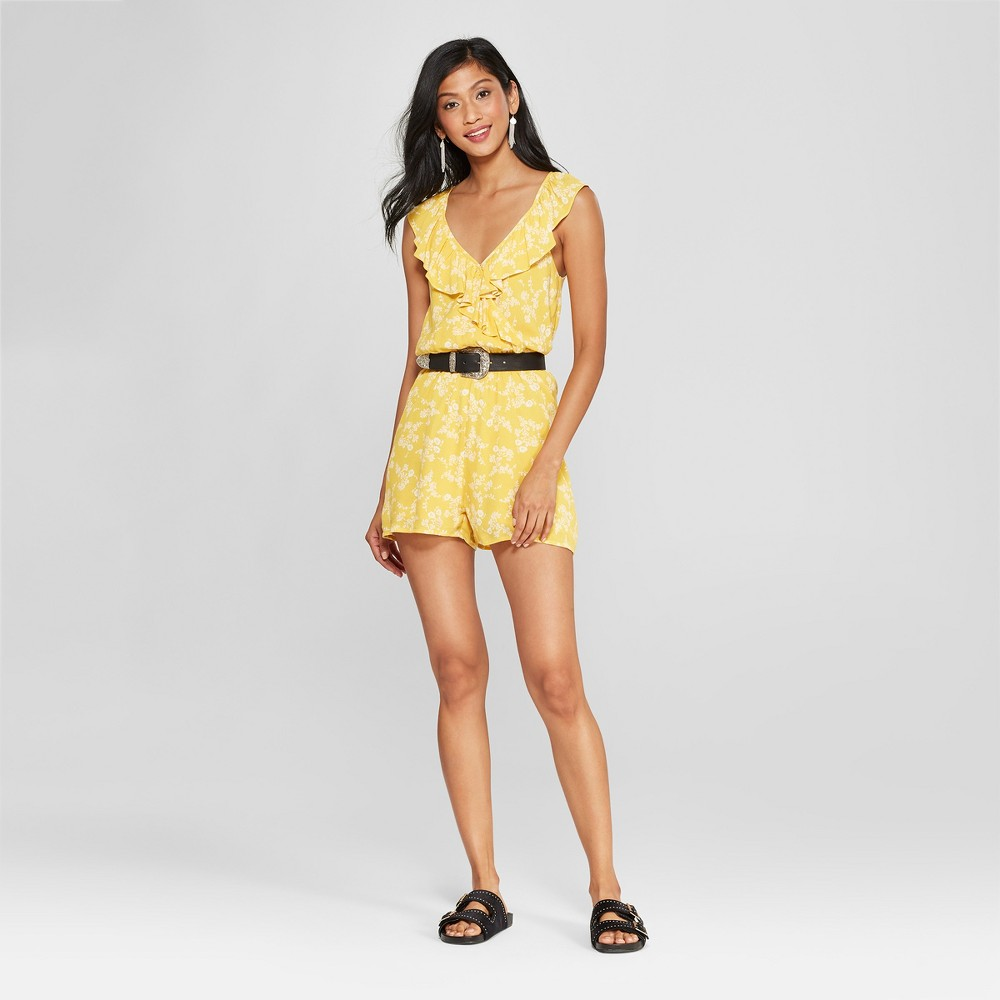 Women's Floral Print Ruffle Front Romper - Le Kate (Juniors') Mustard M, Yellow was $42.99 now $10.74 (75.0% off)