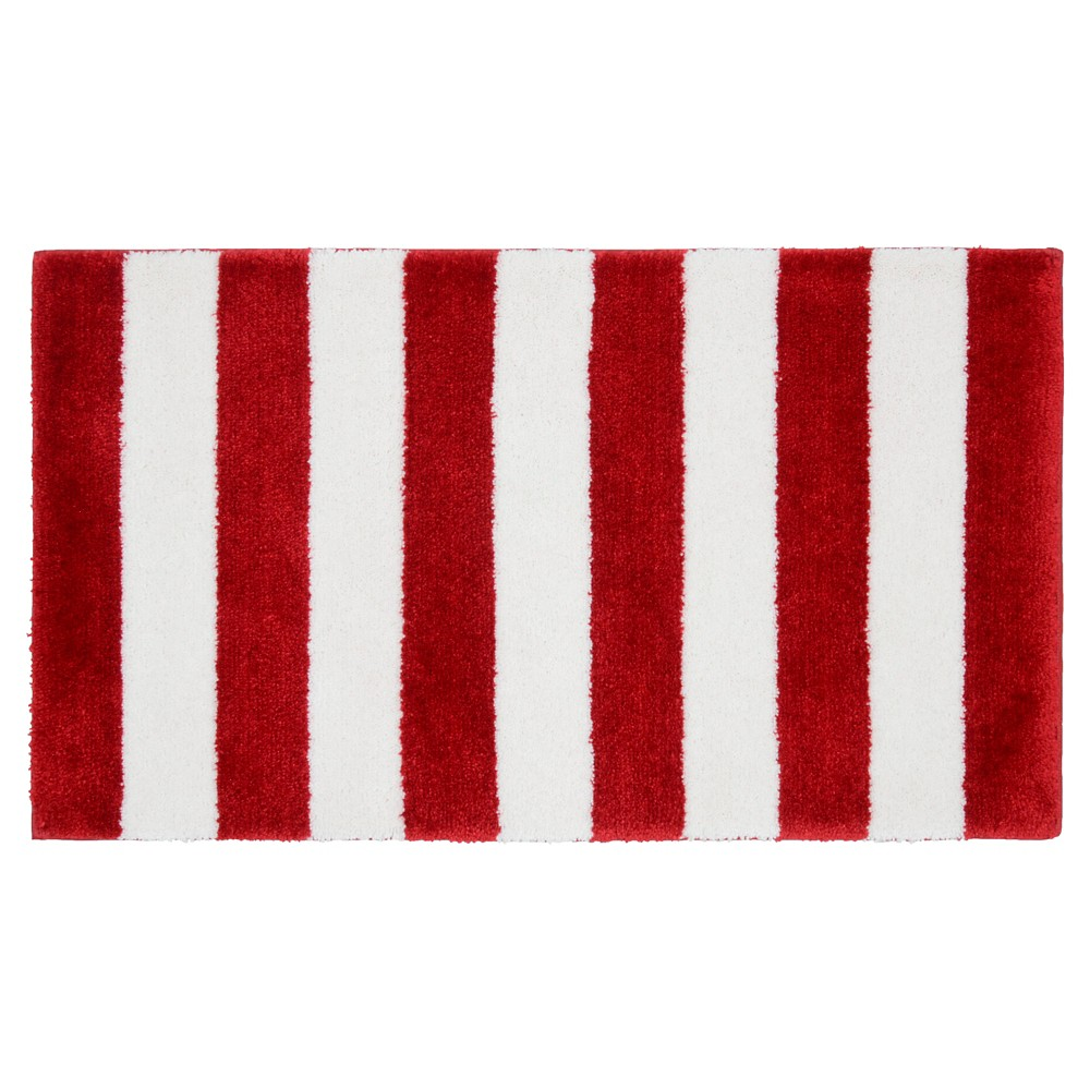 "Image of ""21""""x34"""" Beach Stripe Bath Rug Crimson Red/White - Garland"""