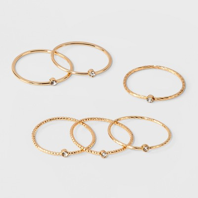 Clear Stone Set of Six Rings - A New Day™ Gold/Clear
