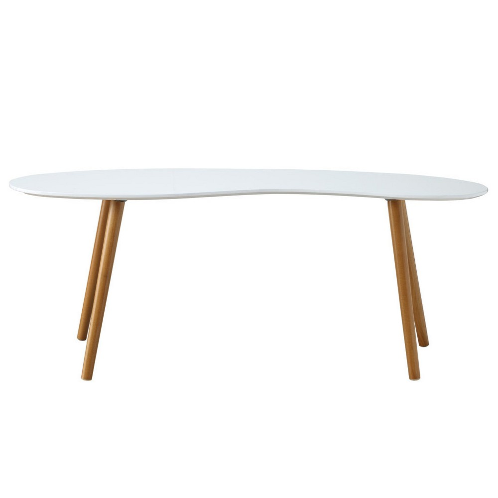 Oslo Bean Shaped Coffee Table White/Bamboo Brown - Johar Furniture