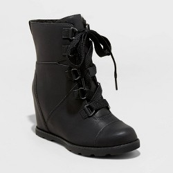 Women's Katherine Faux Leather Lace-Up Wedge Boots - Universal Thread™
