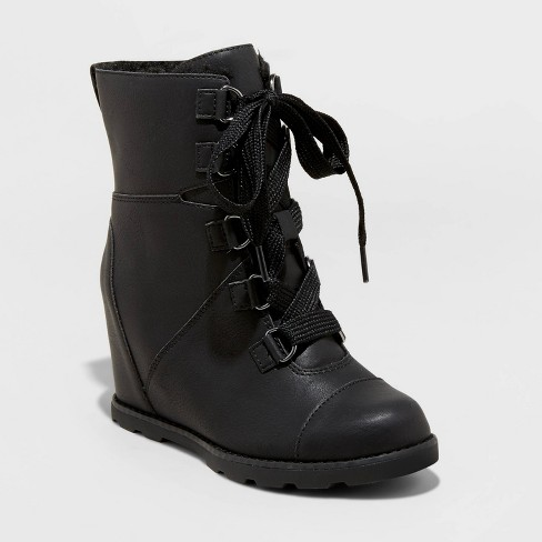 Women's Katherine Faux Leather Lace-Up Wedge Boots - Universal Thread™ - image 1 of 3