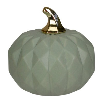 "Northlight 7"" Green and Gold Fall Harvest Ceramic Pumpkin Decoration"
