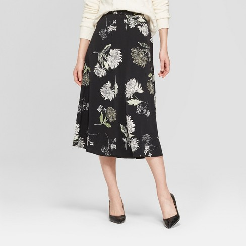 Women's Floral Print Full Silky Midi Skirt - Who What Wear™ Black/Green 10 - image 1 of 3