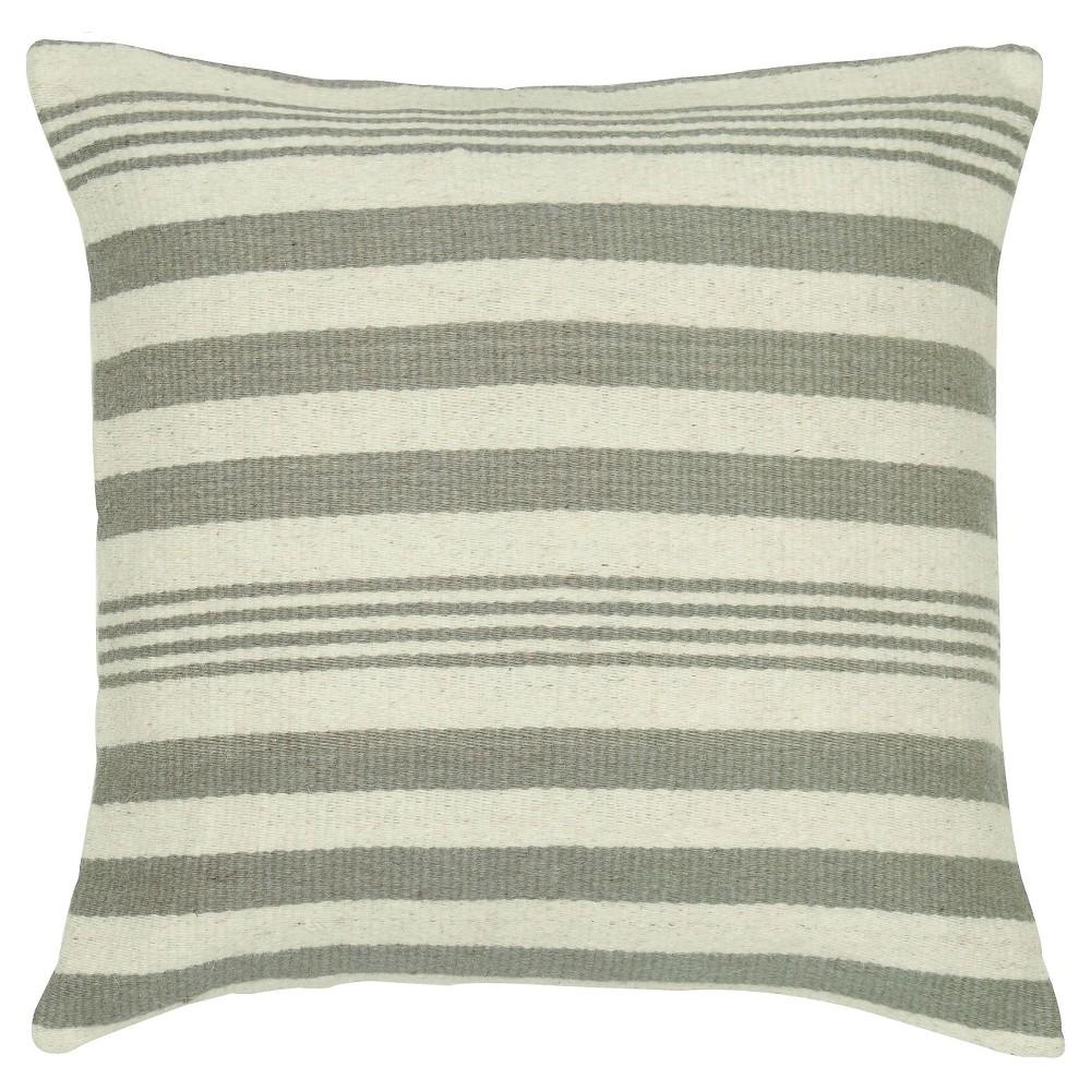 Gray Woven Wool Pattern Throw Pillow Stripes Motif (18