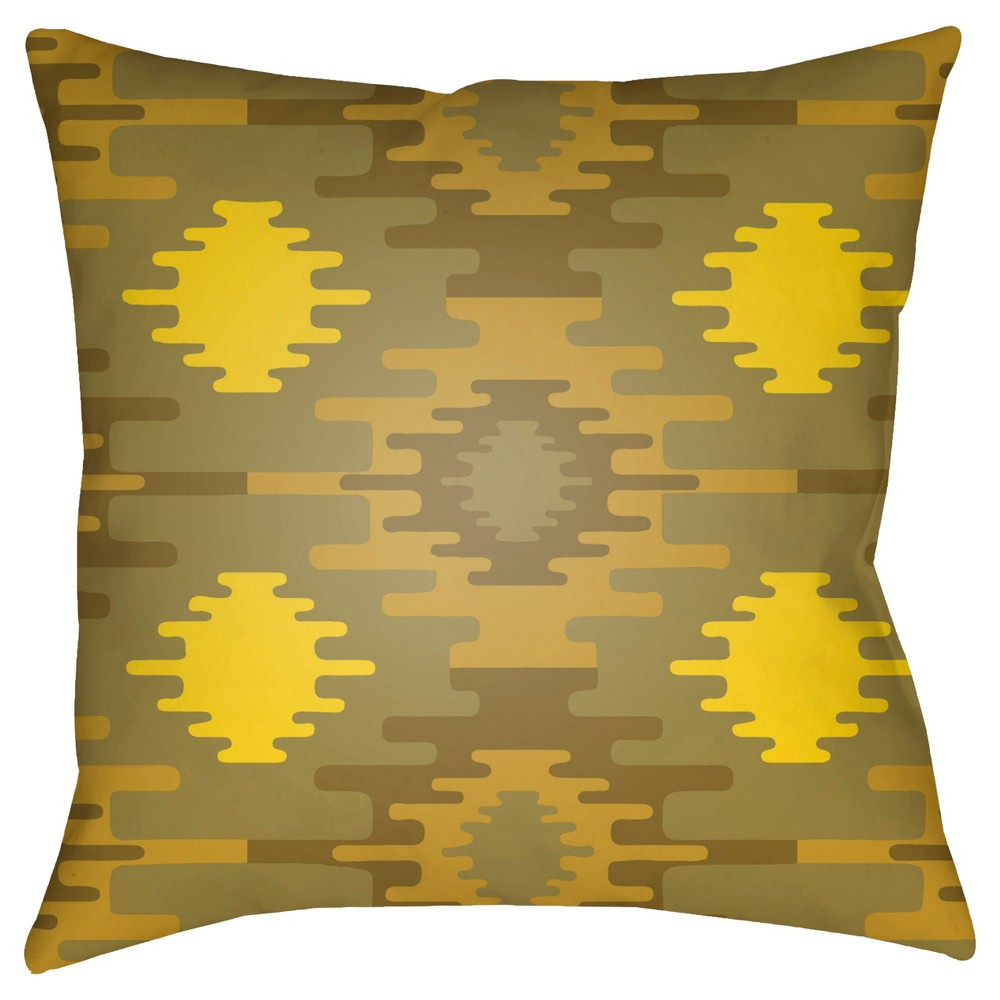 Lemon (Yellow) Yindi Aztec Throw Pillow 18