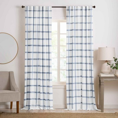 Farmhouse Living Double Windowpane Plaid Room Darkening Window Curtain Panel - Elrene Home Fashions