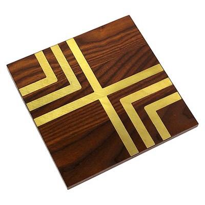 Wood & Gold Inlay Trivet - Threshold™