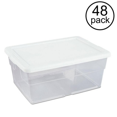 Sterilite 16 Quart Clear Stacking Closet Storage Box Container Tub (48 Pack) - image 1 of 6
