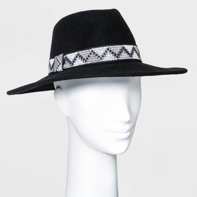 Women's Guitar Strap Band Wide Brim Fedora Hat - Universal Thread™ Black