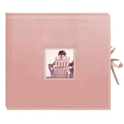 Sewn Leatherette D-Ring Scrapbook - Pink
