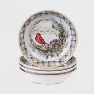 28oz 4pk Earthenware Holly and Ivy Dinner Bowls White - Certified International