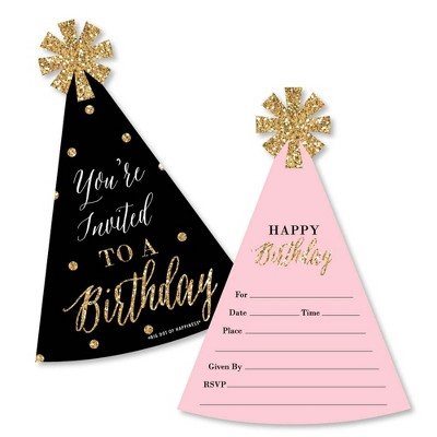 Big Dot of Happiness Chic Happy Birthday - Pink Black & Gold - Shaped Fill-in Invitations - Birthday Party Invitation Cards with Envelopes - Set of 12