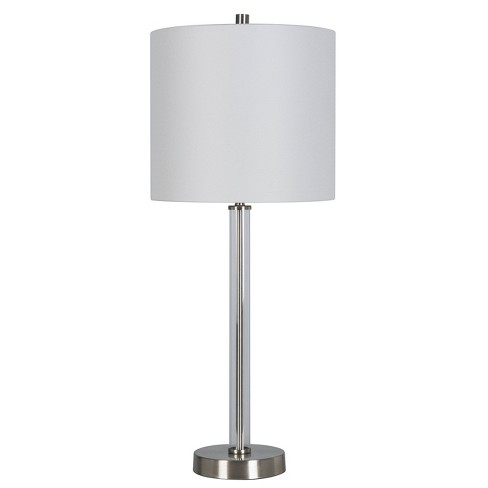 Clear Tube Buffet Table Lamp Brushed Nickel Includes