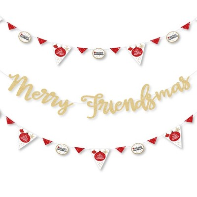 Big Dot of Happiness Red and Gold Friendsmas - Party Letter Banner Decor - 36 Cutouts & No-Mess Real Gold Glitter Merry Friendsmas Banner Letters