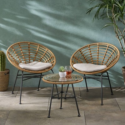 3pc Pigment Iron Modern Boho Patio Chat Set - Christopher Knight Home