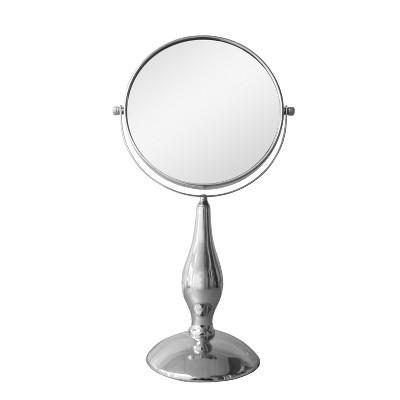 Freestanding Bath Magnifying Makeup Mirror Light Silver 15.5  - Elegant Home Fashions