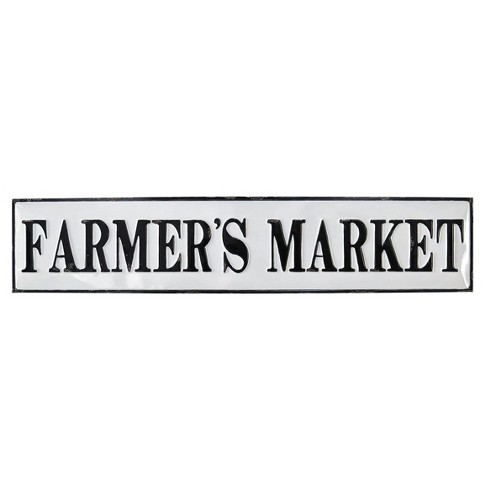"7.5""x1.5""x36.75"" Metal Farmers Market Wall Plaque White - Foreside Home & Garden - image 1 of 1"