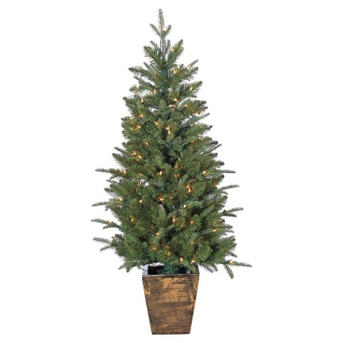 4ft Pre-Lit Artificial Christmas Tree Slim Potted Durango Pine - Clear Lights - image 1 of 1