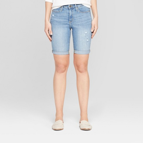 Women's High-Rise Double Cuff Bermuda Jean Shorts - Universal Thread™ Light Wash - image 1 of 3