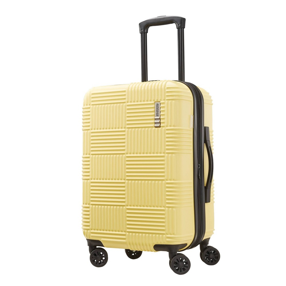 "Image of ""American Tourister 20"""" Checkered Carry On Hardside Spinner Suitcase - Yellow"""