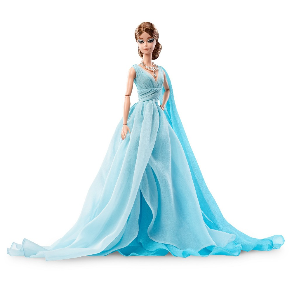 Barbie Collector Bfmc Blue Chiffon Ball Gown Doll