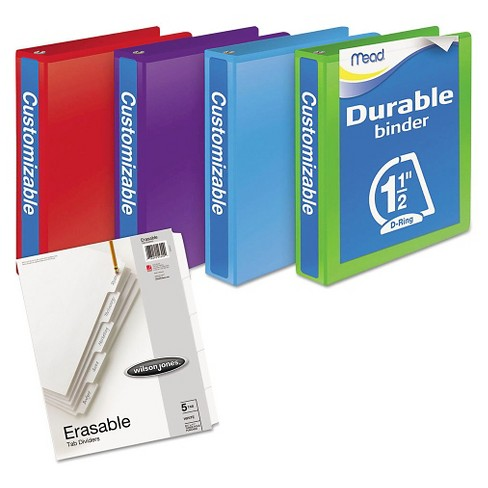 mead durable d ring view binder plus pack 1 1 2 cap assorted