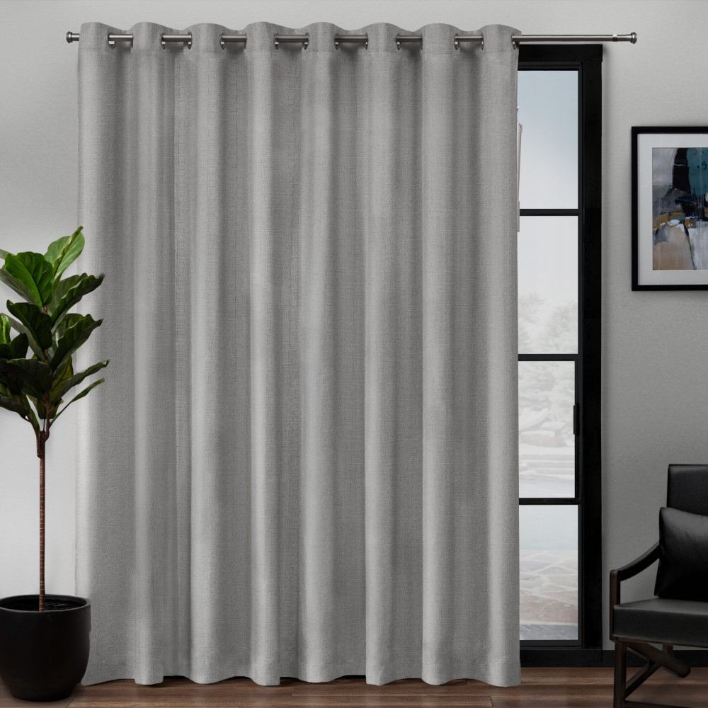 "Image of ""108""""x84"""" Loha Patio Grommet Top Single Curtain Panel Dove Light Gray - Exclusive Home"""
