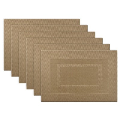 6pk Gray Double Frame Placemat - Design Imports