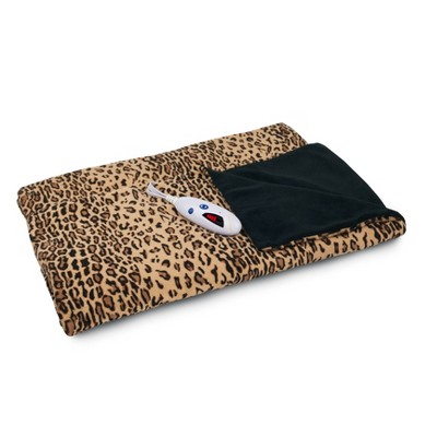 "62"" x 50"" Microplush Electric Throw Blanket Leopard/Black - Biddeford Blankets"