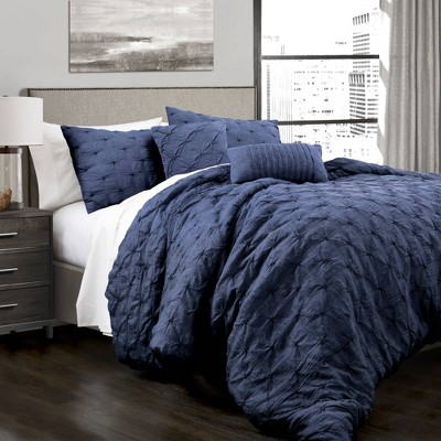 Full/Queen 5pc Ravello Pintuck Comforter Set Navy - Lush Décor