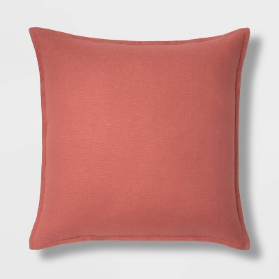 Oversized Square Reversible Linen Throw Pillow with Self Flange Coral - Threshold™