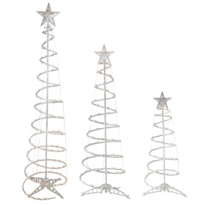 Northlight Set of 3 Pre-Lit Spiral Christmas Trees - 3, 4, 6' - Clear Lights